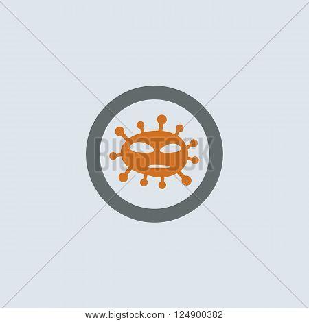 Gray-orange foreign virus molecule round web icon