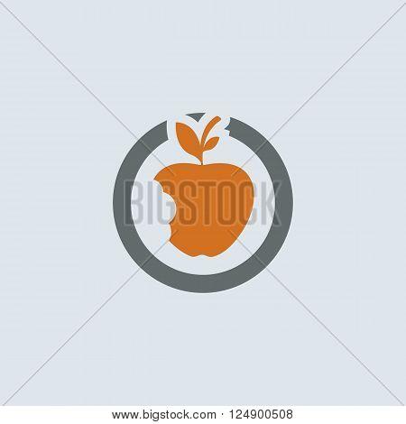 Gray-orange bitten apple with leaves round web icon
