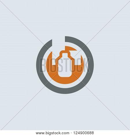 Gray-orange wide range of medical drugs packaging round web icon