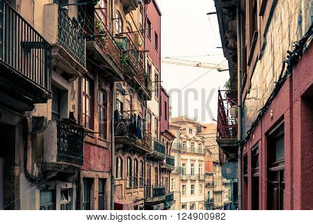 Street view of old town Porto, Portugal