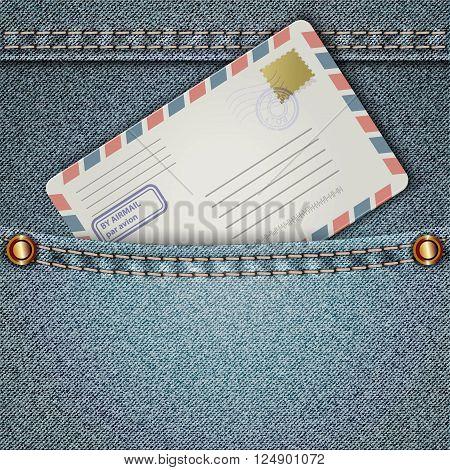 Denim pocket with an envelope. Vector illustration.