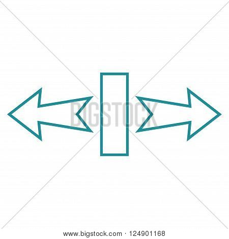 Stretch Arrows Horizontally vector icon. Style is stroke icon symbol, soft blue color, white background.