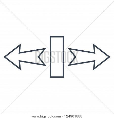 Stretch Arrows Horizontally vector icon. Style is thin line icon symbol, smooth blue color, white background.