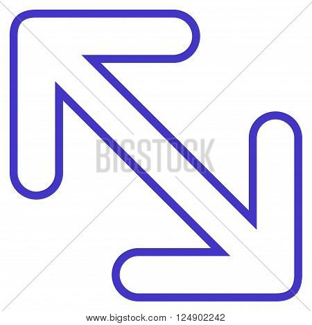 Flip Arrows Diagonal vector icon. Style is outline icon symbol, violet color, white background.