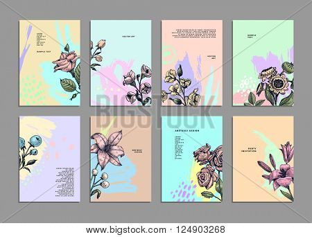 Cards Set with Herbs and Flowers. Botanical Vector Illustration. Engraving Retro Style for Placards, Posters, Invitations and Brochures Design