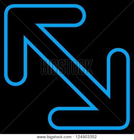 Flip Arrows Diagonal vector icon. Style is contour icon symbol, blue color, black background.