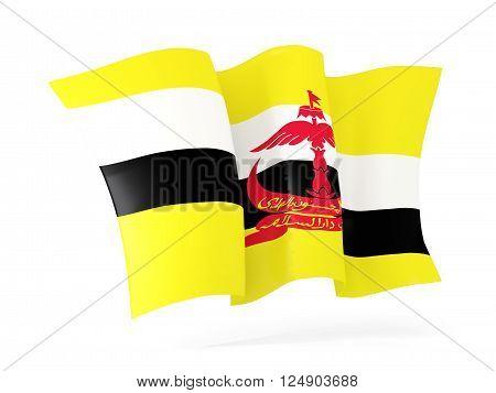 Waving flag of brunei isolated on white. 3D illustration