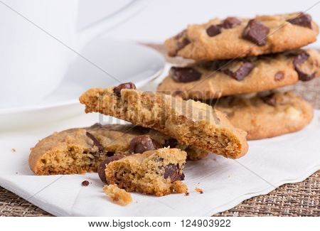 Closeup of chocolate chip cookie on a napkin