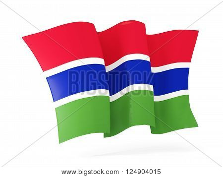 Waving Flag Of Gambia. 3D Illustration