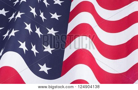 Closeup of the United States of America flag