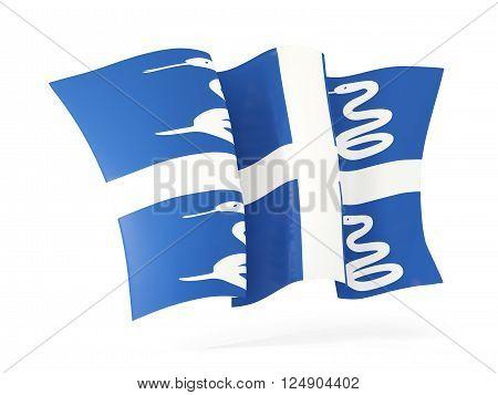 Waving Flag Of Martinique. 3D Illustration