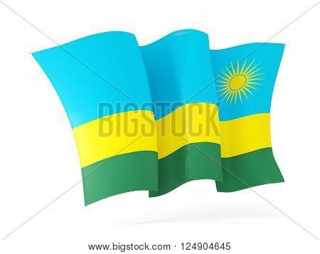 Waving Flag Of Rwanda. 3D Illustration