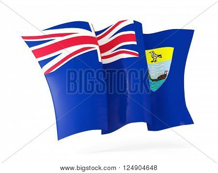 Waving flag of saint helena isolated on white. 3D illustration