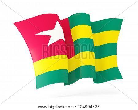 Waving flag of togo isolated on white. 3D illustration
