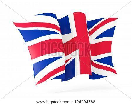 Waving Flag Of United Kingdom. 3D Illustration