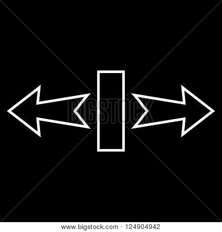 Stretch Arrows Horizontally vector icon. Style is contour icon symbol, white color, black background.