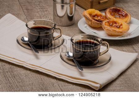 Portuguese Custard Tarts With Coffee