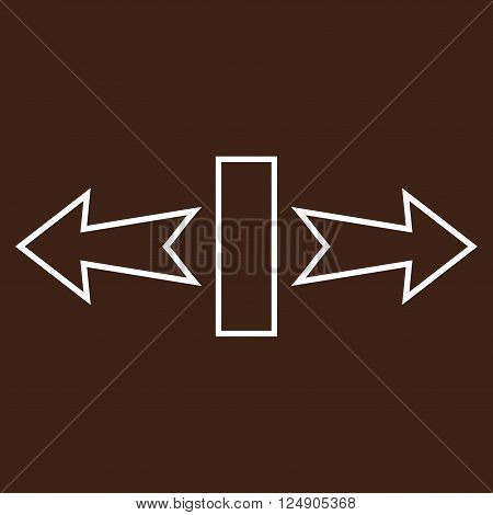Stretch Arrows Horizontally vector icon. Style is stroke icon symbol, white color, brown background.