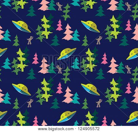 UFO attack on a person in the spruce forest at night vector seamless pattern