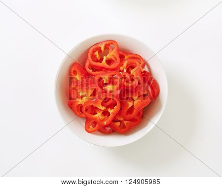 bowl of sliced red bell pepper