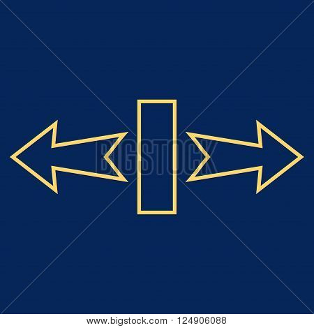 Stretch Arrows Horizontally vector icon. Style is thin line icon symbol, yellow color, blue background.