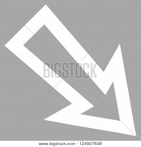Arrow Right Down vector icon. Style is thin line icon symbol, white color, silver background.