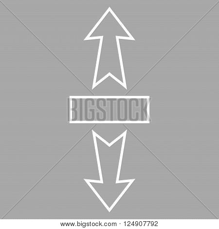 Stretch Arrows Vertically vector icon. Style is thin line icon symbol, white color, silver background.