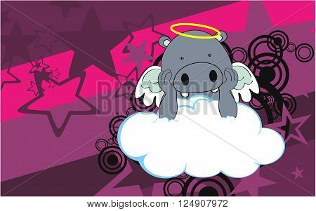 sweet cherub hippo cartoon background in vector format very easy to edit