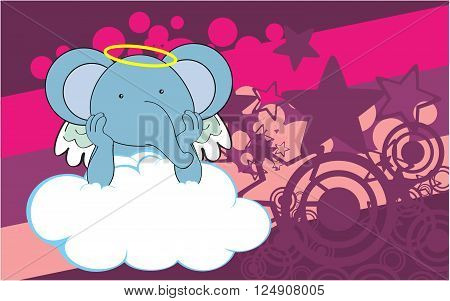 sweet cherub elephant cartoon background in vector format very easy to edit