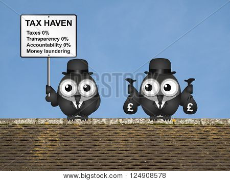 Bird businessman holding bags of money deposited in a tax haven paying no tax and shrouded in secrecy UK version
