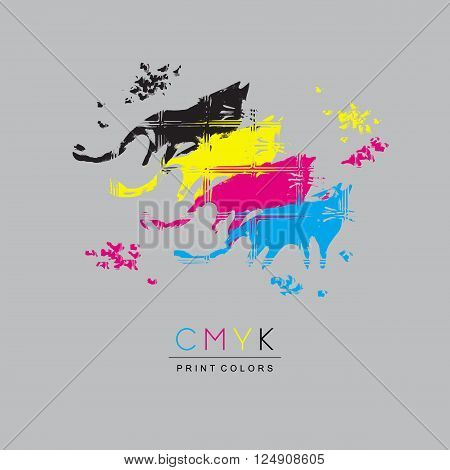 Logo CMYK color model design concept on light gray background. Four multi-colored cats. Printing technology emblem.