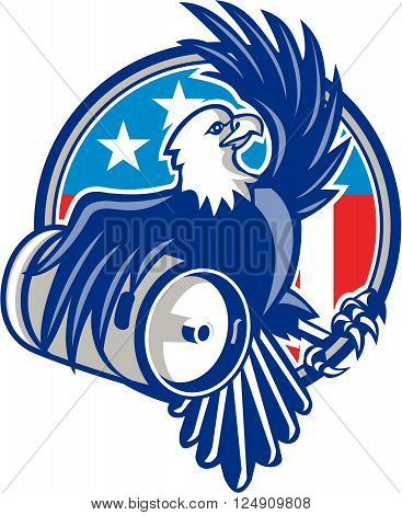 Illustration of an american bald eagle carrying beer keg viewed from the side set inside circle with usa american flag stars and stripes in the background done in retro style.