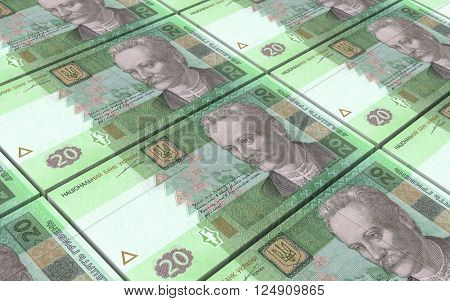 Ukrainian hryvnia bills stacks background. 3D illustration.