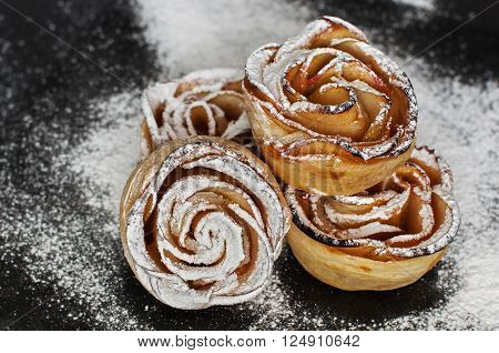Sweet Apple puff rolls with apricot jam