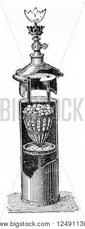Acetylene lamp, vintage engraved illustration. Industrial encyclopedia E.-O. Lami - 1875.