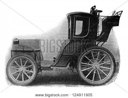 Electric Cab, vintage engraved illustration. Industrial encyclopedia E.-O. Lami - 1875.