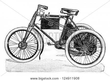 Automotive tricycle, vintage engraved illustration. Industrial encyclopedia E.-O. Lami - 1875.