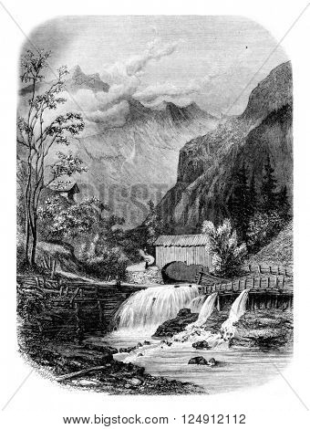 Valley between Giettaz Flumet and Col des Aravis, vintage engraved illustration. Magasin Pittoresque 1861.