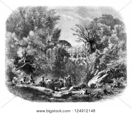 A Lavoir in Ariccia, vintage engraved illustration. Magasin Pittoresque 1861.