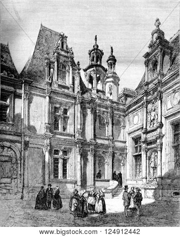 Court of the Exchange, in Caen, vintage engraved illustration. Magasin Pittoresque 1861.