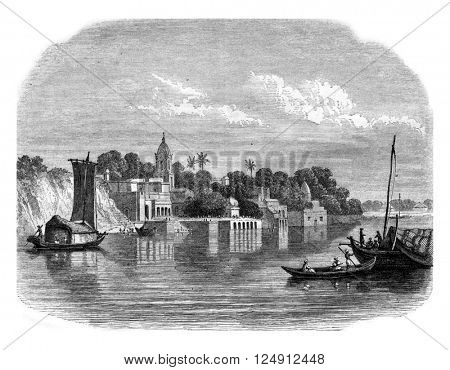 View of Cawnpore, modern city of the country of Ouche, vintage engraved illustration. Magasin Pittoresque 1857.
