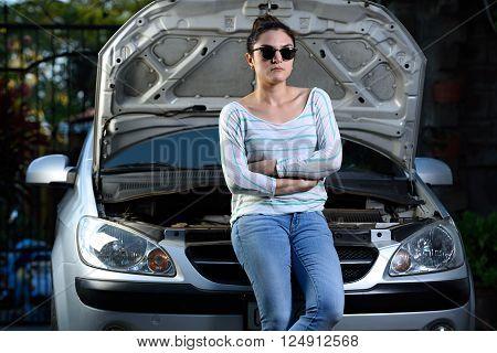 Girl With Broken Car