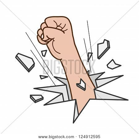 Break Free, a hand drawn vector illustration of a fist, breaking through a barrier for freedom.