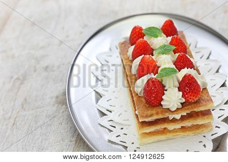 homemade strawberry mille feuille, Napoleon pie, french pastry