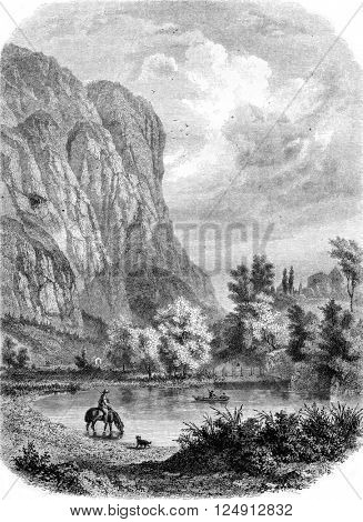 View of the Martinswand, near Innsbruck, vintage engraved illustration. Magasin Pittoresque 1857.