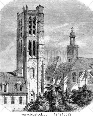 Napoleon High School. The Tower of Clotilde, nineteenth century, vintage engraved illustration. Magasin Pittoresque 1857.