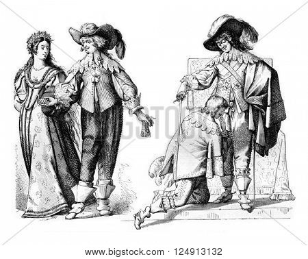 Gentleman driving a 1636 campaign bride, Louis XIII creating a knight of the Holy Spirit in 1633, vintage engraved illustration. Magasin Pittoresque 1857.