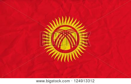 Vector image of the Kyrgyzstan  paper flag