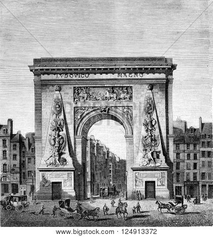 Reign of Louis XIV, Porte Saint-Denis, by Francois Blondel 1673, vintage engraved illustration. Magasin Pittoresque 1847.