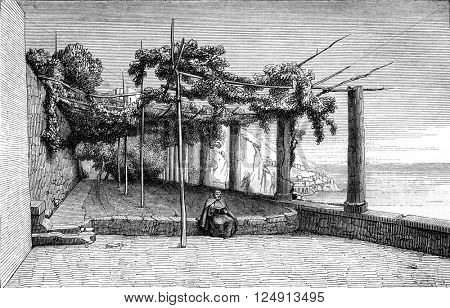 Terrace of the Capuchin convent in Amalfi, in the Gulf of Salerno, vintage engraved illustration. Magasin Pittoresque 1847.